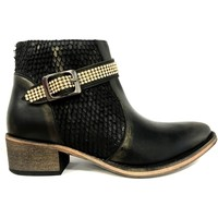 Zapatos Mujer Botas de caña baja Ilario Ferucci Bottines Flower Cuir Noir Negro