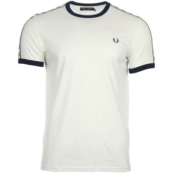 textil Hombre camisetas manga corta Fred Perry Taped Ringer T-shirt Snow White Blanco