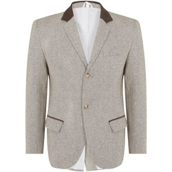 textil Hombre Chaquetas / Americana De La Creme Luxurious Wool Blend. Features are Top Pocket with 2 Other Piped Brown