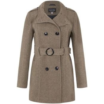 textil Mujer trench De La Creme Abrigo de invierno con cinturón de lana Brown