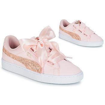 Zapatos Mujer Zapatillas bajas Puma BASKET HEART CANVAS W'S Rosa