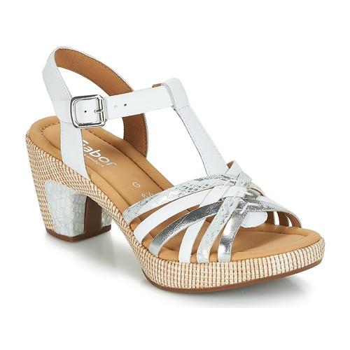 Gabor MASTIAR Blanco / Plateado - Envío gratis | ! - Zapatos Sandalias Mujer