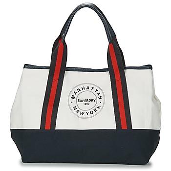 Bolsos Mujer Bolso shopping Superdry BAYSHORE BEACH TOTE Blanco / Marino / Rojo