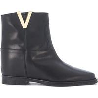 Zapatos Mujer Botines Via Roma 15 Tronchetto in pelle liscia nera Negro