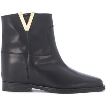 Zapatos Mujer Botas de caña baja Via Roma 15 Tronchetto  in pelle liscia nera Negro