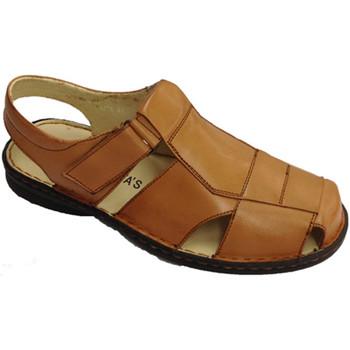 Zapatos Hombre Mocasín 30´s Sandalias cerradas por la puntera broche marrón
