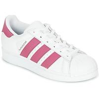 Zapatos Niña Zapatillas bajas adidas Originals SUPERSTAR J Blanco / Rosa
