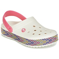 Zapatos Mujer Zuecos (Clogs) Crocs CROCBAND GALLERY CLOG Blanco / Rosa