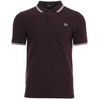 textil Hombre polos manga corta Fred Perry Twin Tipped  Shirt Brumble Snow White Marrón