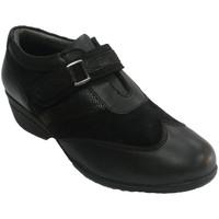 Zapatos Mujer Mocasín 48 Horas Zapato mujer con velcro combinado piel y ante negro