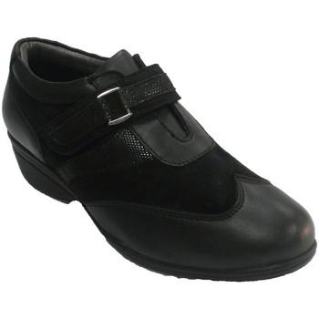 Zapatos Mujer Mocasín 48 Horas Zapato mujer con velcro combinado piel y negro