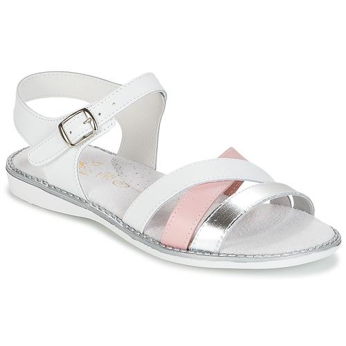 Zapatos Niña Sandalias Citrouille et Compagnie IZOEGL Blanco / Rosa / Plateado