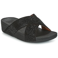 Zapatos Mujer Zuecos (Mules) FitFlop CRYSTAL II SLIDE SANDALS Negro