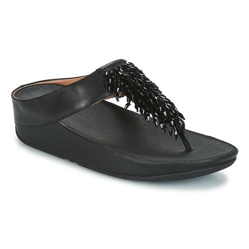 Cómodo y bien parecido Zapatos especiales FitFlop CHA-CHA TOE-THONG SANDALS CRYSTAL Negro
