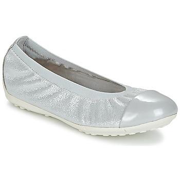 Zapatos Niña Bailarinas-manoletinas Geox J PIUMA BAL A Gris / Plata