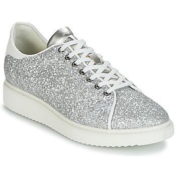 Zapatos Mujer Zapatillas bajas Geox D THYMAR C Plata / Blanco