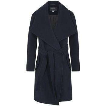 textil Mujer Abrigos De La Creme - Capa de Cachemira de Lana de Invierno Para Mujer Con Cuello G Blue