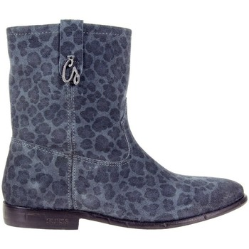 Zapatos Mujer Botines Guess Vivan Printed Suede Bootie Blue