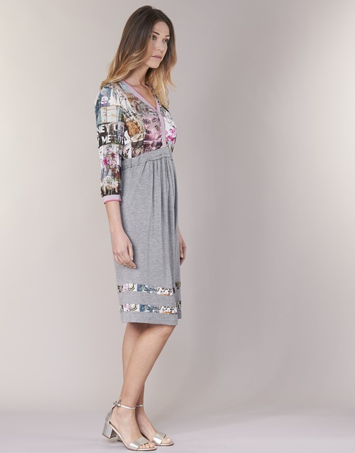 Zairoce Vestidos Gris Cream Cortos Textil Mujer LUpGzMqSV