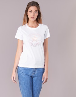 textil Mujer camisetas manga corta Converse CONVERSE CLEAR FOIL CHUCK PATCH CREW TEE Blanco