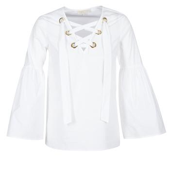 textil Mujer Tops / Blusas MICHAEL Michael Kors POPLIN GRMT LCE UP T. Blanco