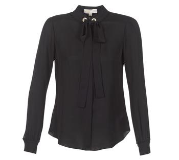 textil Mujer Tops / Blusas MICHAEL Michael Kors GROMMET NK TIE BLSE Negro