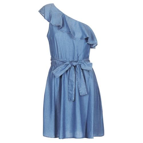 textil Mujer Vestidos cortos MICHAEL Michael Kors ONE SHLDR RUFFLE DRS Denim