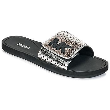Zapatos Mujer Chanclas MICHAEL Michael Kors MK SLIDE Negro / Plata