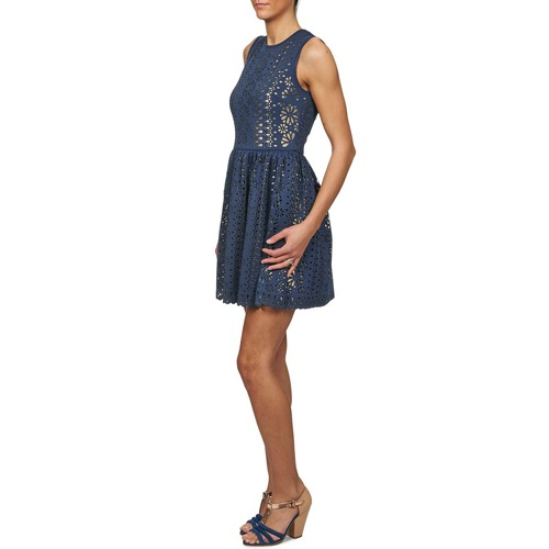 Cortos Vestidos Mujer Neoprene Textil Manoush AzulDorado qALSc5j34R