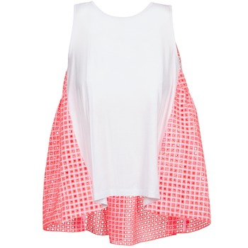 textil Mujer camisetas sin mangas Manoush AJOURE CARRE Blanco / Rosa