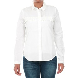 textil Mujer camisas Jacqueline De Yong 15147295 JDYSILLE FRILL L/S SHIRT WVN WHITE Blanco