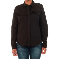 textil Mujer camisas Jacqueline De Yong 15147295 JDYSILLE FRILL L/S SHIRT WVN BLACK Negro