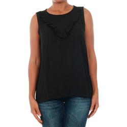 textil Mujer Tops / Blusas Jacqueline De Yong 15148076 JDYPINAR S/L FRILL TOP WVN BLACK Negro