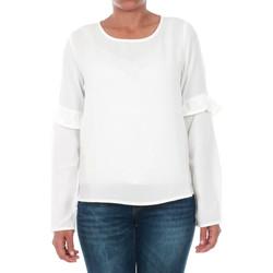 textil Mujer Camisetas manga larga Only 15144539 ONLJUNA FRILL L/S TOP WVN CLOUD DANCER Blanco