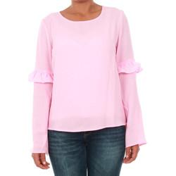 textil Mujer Camisetas manga larga Only 15144539 ONLJUNA FRILL L/S TOP WVN PRISM PINK Rosa