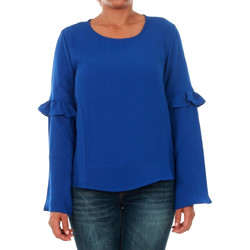 textil Mujer Camisetas manga larga Only 15144539 ONLJUNA FRILL L/S TOP WVN SURF THE WEB Azul