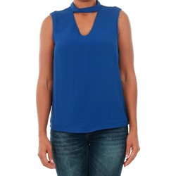 textil Mujer camisetas sin mangas Only 15145266 ONLMYRINA CHOKER S/L SOLID TOP WVN SURF THE WEB Azul