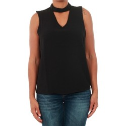 textil Mujer camisetas sin mangas Only 15145266 ONLMYRINA CHOKER S/L SOLID TOP WVN BLACK Negro