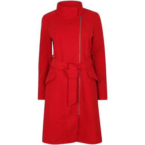 textil Mujer parkas Anastasia Abrigo de invierno con cremallera y cinturón para mujer Red