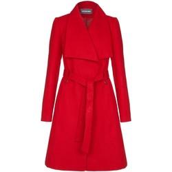 textil Mujer trench Anastasia Abrigo de invierno para mujer con collar ancho y cinturón Red