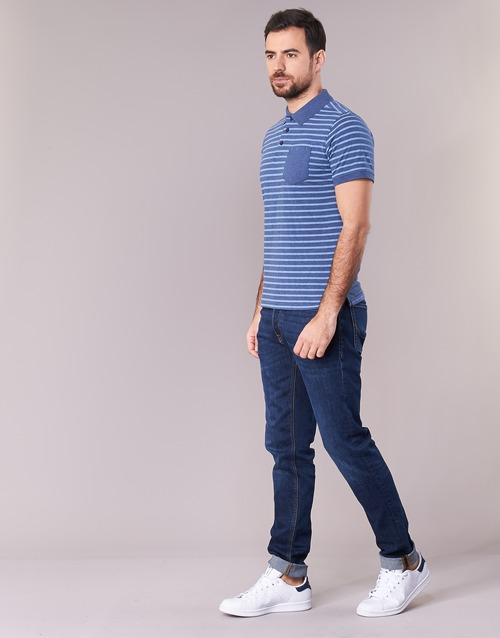 Hombre Attitude Textil Corta Manga Casual Polos Inutiole AzulBlanco dBrexCo