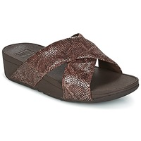 Zapatos Mujer Zuecos (Mules) FitFlop SWOOP SLIDE Chocolate