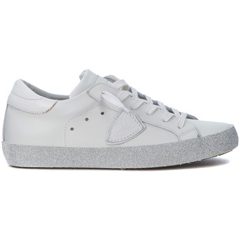 Zapatos Zapatillas bajas Philippe Model Paris Sneaker  Paris en piel blanca y purpurina Blanco