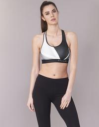 textil Mujer Sujetador deportivo  Under Armour ARMOUR MID KEYHOLE PRINT Negro / Blanco