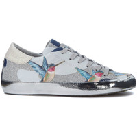 Zapatos Zapatillas bajas Philippe Model Paris Sneaker  Paris Tropical en piel con colibrì y purpurina Plata