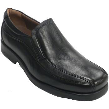 Zapatos Hombre Mocasín Fleximax Zapato cnpala lisa y pespuntes laterales. negro