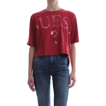 Guess W81I71 K6MG0 CROPPED T-SHIRT Mujer Rosso Rosso