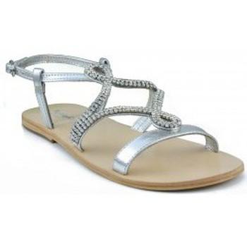 Zapatos Mujer Sandalias Oca Loca OCA LOCA SANDALIA NIÑA PIEL METALIZADA ADORNO STRASS ORO PLATA