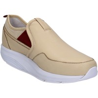 Zapatos Mujer Zapatillas bajas Mbt slip on mocasines beige cuero textil AC442 beige