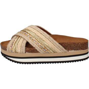 Zapatos Mujer Chanclas 5 Pro Ject sandalias beige textil dorado AC586 beige